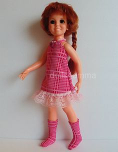 """""""PINK PEACE"""" - Retro Swing Dress, Go-Go Boots and Peace Symbol Necklace for Crissy dolls - available on eBay - by dolls4emma"""