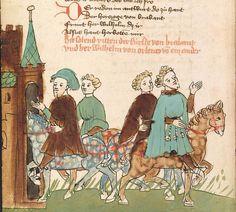 """Rudolf <von Ems> Willehalm von Orlens — Straßburg - """"Werkstatt von 1418"""", um 1420 Cod. Pal. germ. 323 Folio 10v"""
