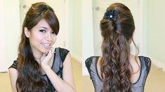 Elegant Prom Half-Updo Hairstyle | Curly Hair Tutorial - Bebexo