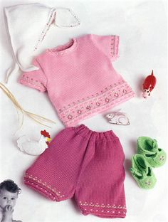 Bergere de France Top, Shorts, Kerchief & Booties Knitting Pattern baby