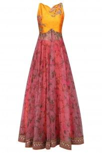 Mustard Yellow and Pink Floral Embroidered Anarkali Set #riantas #newcollection #ethnic #shopnow #ppus #happyshopping