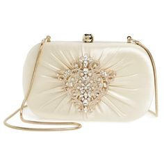Women's Badgley Mischka Diva Satin Clutch ($250) ❤ liked on Polyvore featuring bags, handbags, clutches, ivory, ivory handbag, satin handbags, satin clutches, vintage style purses and badgley mischka purses