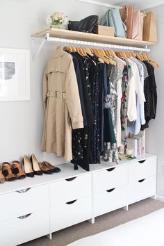 Using the idea of low drawers/shoe storage, with rail above for main bedroom