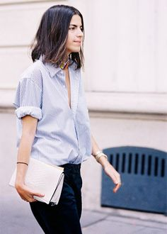 Rolled sleeves for summer + a great bag // #StreetStyle via Man Repeller