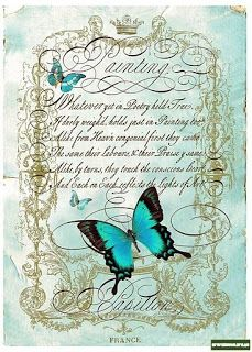 "Make background colored, then print ""Love is Like a Butterfly, Soft and Gentle as a Sigh."" on transparency paper. Decoupage Vintage, Decoupage Paper, Vintage Crafts, Vintage Paper, Decoupage Printables, Butterfly Art, Butterflies, Butterfly Bathroom, Shabby"