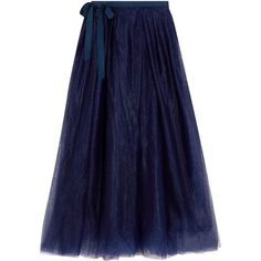 J.Crew Grosgrain-trimmed tulle midi skirt (2.574.500 IDR) ❤ liked on Polyvore featuring skirts, blue, knee length skirts, navy, navy midi skirt, tulle midi skirts, blue skirt, blue midi skirt and blue tulle skirt