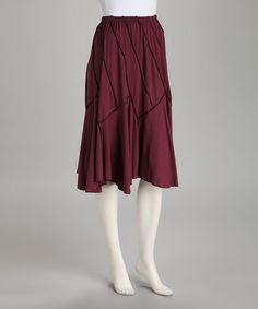 Drape and texture together. Loving this Plum Ribbed Skirt on #zulily! #zulilyfinds