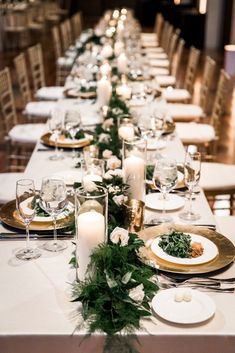 winter white wedding country music hall of fame ? Wedding Table Garland, Wedding Guest Table, Winter Wedding Centerpieces, Winter Wedding Flowers, Wedding Table Centerpieces, Long Wedding Tables, Wedding Greenery, Wedding Decorations, Country Music