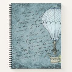 Shop Steampunk Hot Air Balloon Dusk Blue Handwriting Notebook created by Steampunkary. Personalize it with photos & text or purchase as is! Hot Air Balloon Cake, Air Balloon Rides, Vintage Notebook, Scrapbook Background, Thing 1, Victorian Steampunk, Scrapbook Journal, Happy Fathers Day, Handwriting