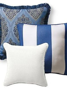 Freshen up your outdoor space easily with the Set of Three Royal Blue Designer Pillows; a cool set that features vibrant color and intricate design.