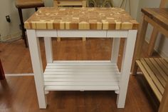 White Kitchen Cart with Butcher Block Hickory Top by McClure Tables.
