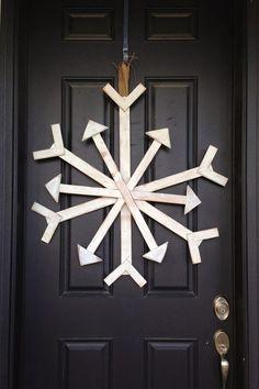 Christmas Door Decorations Wooden Snowflake