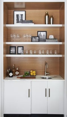 57 Fabulous Home Bar Designs You'll Go Crazy For. Decorating your ideal home bar design. Consider yourself lucky if you've got your own home bar – it's a perfect social gathering . Coffee Bar Home, Home Coffee Stations, Mini Bars, Home Wet Bar, Bars For Home, Bar Shelves, Floating Shelves, Wood Shelves, Glass Shelves
