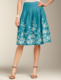 Oooo! I could own the same skirt as Michelle Obama! I love it! Talbots - Embroidered Linen Skirt
