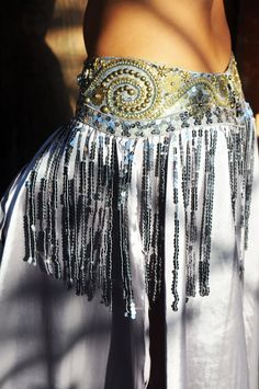 Belly Dance Belt in Vintage Silver and Gold with sequined Fringe. $165.00, via Etsy.