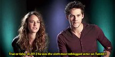 Dylan's reaction is adorable!! The answer was YES!! Kaya and Dylan answering questions about each other...(1) Tumblr