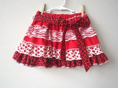 Animal Love Girls Valentines Skirt Girls Red by crocodilecrunch, $35.00
