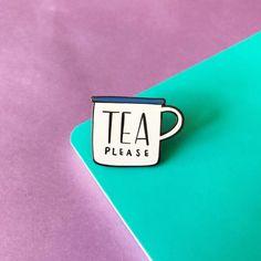 Tea Please Enamel Lapel Pin  cute enamel mug pin hat badge