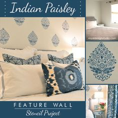 India-inspired Pattern and Stencil Ideas for Feature Walls
