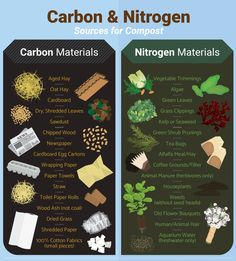 "<a href=""https://www.fix.com/blog/how-to-start-a-compost-pile/""><img src=""https://www.fix.com/assets/content/19985/carbon-nitrogen-sources.png"" alt=""Carbon and Nitrogen Sources - Guide to Home Composting"" border=""0"" /></a><br />Source: <a href=""https://www.fix.com/blog/"">Fix.com Blog</a>"