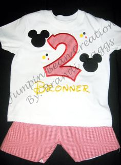 Custom Mickey Mouse Birthday Outfit by JumpinBeanCreations on Etsy, $35.00