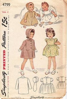 Vintage 1940's Coat Hat and Dress for Girls by daisyepochvintage, $7.00