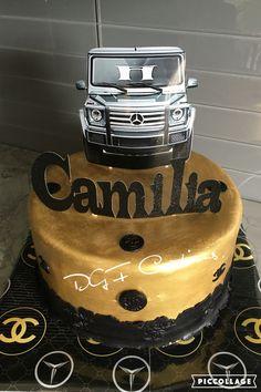 Chanel and mercedez theme birthday cake painted with rolkem super gold available at www.dgfcreations.ca #chanelcake #mercedezcake #goldandblackcake