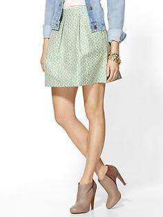 Pim + Larkin Neon Jacquard Pleated Skirt | Piperlime