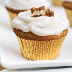 Sweet Potato-Pecan Cupcakes With Cream Cheese Frosting