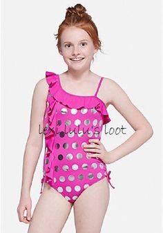 df3f31756b979 Justice Girl's MERMAID Shimmer Dot Ruffle One Shoulder One Piece Swim Suit  Sz 16 #Justice