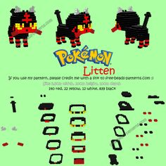 3D Hama Beads Perler Artkal pattern Litten Pokemon Sun Moon