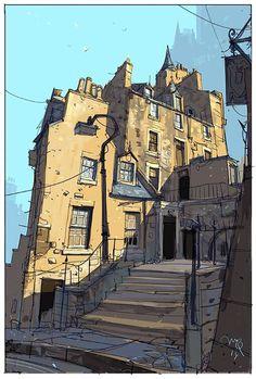 Ian McQue on - Urban Sketching - Environment Concept Art, Environment Design, Graffiti Kunst, Landscape Sketch, Urban Landscape, Urban Sketchers, Environmental Art, Illustrations And Posters, Art Sketches