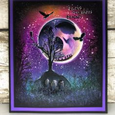 Incredible Halloween scene created by Lisa Taggart, featuring our skull shadow stencil in the moon, with tree stamps and our leave your fears sentiment. Butterfly Stencil, Image Stamp, Halloween Scene, Stencils, Christmas Cards, Stamps, Lisa, Batman, Skull