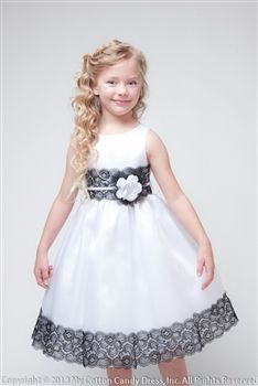 White Contrasting Lace Flower Girl Dress