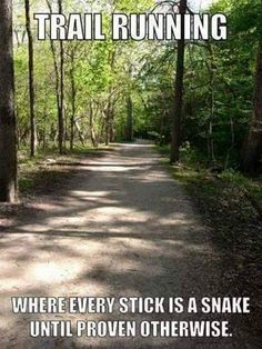 Running Humor Trail running. Where every stick is a snake until proven otherwise.You can find Running . Running Humor, Gym Humor, Workout Humor, Running Workouts, Fitness Humor, Workout Fitness, Workout Sayings, Bike Humor, Funny Fitness