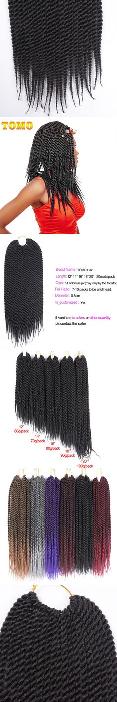 """Refined Kanekalon Jumbo Braid 16"""" 20Roots/Pack Ombre Synthetic Senegalese Twist Hair 15 Colors Crochet Hair Extensions"""