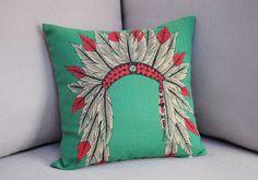 Set of 2 Nordic Indian Headdress Feather Tiara Pillow Covers Boho Indie Throw Linen Pillows, Throw Pillows, Decor Pillows, Boho Pillows, Cushion Covers, Pillow Covers, Native American Decor, Feather Pattern, Le Far West