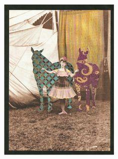 "Saatchi Art Artist: Lynn Skordal; Paper 2012 Collage ""Circus Horses"""