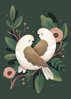 """""""2 Turtle Doves"""" digital illustration Lindsay Dale-Scott 2015"""