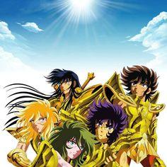 Caballeros de la Esperanza. Shiryu de Libra, Seiya de Sagitario, Hyoga de Acuario, Shun de Andrómeda e Ikki de Fénix.