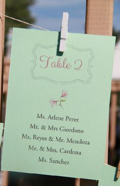 Stationery - Mint - Seating Cards