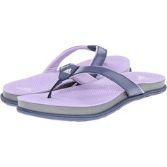 half off aa951 b78c6 (37 AUD) ❤ liked on Polyvore featuring shoes, sandals, flip flops, blue,  white shoes, adidas shoes, toe thongs, blue shoes and purple sandals