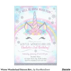 Shop Winter Wonderland Unicorn Birthday Invitation created by YourMainEvent. Personalize it with photos & text or purchase as is! Unicorn Birthday Invitations, Printable Birthday Invitations, Unicorn Birthday Parties, Unicorn Party, Custom Invitations, Party Invitations, Invites, Half Birthday, Unicorn Costume