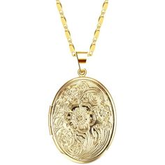 IFFURMON Gold Plated Oval Hand-Engraved Flower Locket Necklace Heart... ($11) ❤ liked on Polyvore featuring jewelry, pendants, engraved jewelry, heart locket, heart jewelry, pendant locket and heart shaped pendant