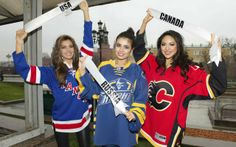 The misses Erin Brady (USA), Elmira Abdrazakova (Russia) and Riza Santos (Canada) pose with uniform ice hockey in Moscow, on November 3, 2013. The beauty contest Miss Universe 2013 will be held at the Crocus City Hall in Moscow. (Photo by Darren Decker/Reuters/Miss Universe Organization)