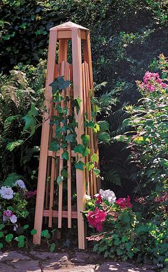 This cedar obelisk adds a nice vertical element in any garden space.  Made from premium grade western cedar.
