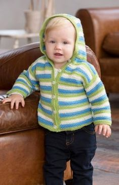 Go Anywhere Baby Hoodie Free Crochet Pattern from Red Heart Yarn