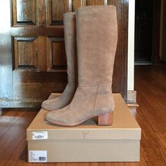 Joie Suede Boot - NWT - size 38/8 Joie Baird Boot - size 38/8. Brand new. Comes with box (if wanted).  Beautiful neutral suede. Slim rounded toe. Leather sole. Measurements:  heel: 1.75 inches, shaft:  16 inches, circumference: 14.5 inches.  Gorgeous boot!  Looks great with jeans and skirts. Sold out everywhere! HP:  best in shoes 6/9 Joie Shoes Heeled Boots