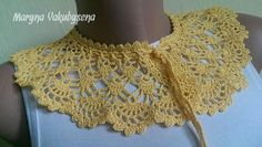 Yellow crocheted lace collar necklace Necklace crocheted Lace