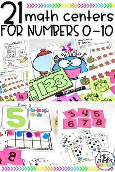 If you are teaching numbers 1-10 in kindergarten, these number math centers can be very beneficial for your students. It includes 21 kindergarten math centers so that students can practice their early counting and number recognition skills.